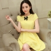 ชุดเดรสแฟชั่นเกาหลี ชุดเดรสน่ารัก ชุเดรสสั้น ผ้าโพลีเอสเตอร์ คอกลม แขนสั้น แต่งโบว์ เอวเข้ารูป กระโปรงบาน ( M,L,XL )
