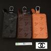 กระเป๋าซองหนังแท้ ใส่กุญแจรีโมทรถยนต์ รุ่นซิบรอบ พิมพ์ลาย Channel
