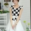 ชุดเดรสทำงานสาวออฟฟิศ สีดำขาว ลายตาราง กระโปรงสีขาว แนวเกาหลี สวยหวาน เรียบร้อย