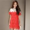 ชุดเดรสสั้นสีแดง ผ้าโครเชถักทั้งตัว ทรงตรง แขนสั้น ลุคสวยหวาน น่ารักๆ สไตล์เกาหลี ใส่เป็นชุดไปงานแต่งงานได้