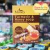 สบู่สมุนไพรขมิ้นผสมน้ำผึ้ง มันนี่ Turmeric&Honey soap ราคาส่ง 3 ก้อน ก้อนละ 55 บาท/ 12 ก้อน ก้อนละ 47 บาท ขายเครื่องสำอาง อาหารเสริม ครีม ราคาถูก ของแท้100% ปลีก-ส่ง