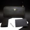 กระเป๋าสตางค์ Prada หนัง Saffiano Zippy งาน Top Mirror สีดำ (Pre)