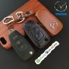 ซองหนังแท้ ใส่กุญแจรีโมทรถยนต์ Mazda BT-50 รุ่นหนังนิ่มโลโก้เหล็ก แบบใหม่