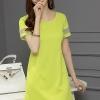 ชุดเดรสสั้นสีเขียว สีพื้น คอกลม แขนสั้น ทรงสอบ ตัดขอบด้วยผ้าไหมแก้ว แนวเกาหลีสวยๆ น่ารักๆ