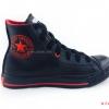 [พร้อมส่ง] รองเท้าผ้าใบแฟชั่น (หุ้มข้อ) รุ่น 3K สีดำแดง แบบหนัง