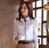 เสื้อเชิ้ตทำงานสีขาว เย็บตกแต่งผ้าสีดำชั้นใน แขนยาว คอปก เอวเข้ารูป
