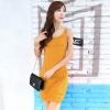 ชุดเดรสสั้นสีเหลือง แขนกุด คอกลม ทรงเข้ารูป สวยหรู