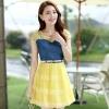 ชุดเดรสสั้นแฟชั่นเกาหลี สีเหลือง เสื้อแต่งเป็นผ้ายีนส์เย็บต่อด้วยกระโปรงผ้าแก้ว เป็นชุดเดรสแนวหวานน่ารัก สวย เรียบร้อย ดูดี ( S M L XL )