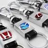 พวงกุญแจโลหะ สายหนังแท้ รุ่นโลโก้ Honda,Mazda,Toyota,Ford แบบใหม่