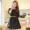 ชุดเดรสสั้นแฟชั่นเกาหลี ชุดเดรสลูกไม้สีดำ แขนสามส่วน เป็นชุดเดรสแนวหวานน่ารัก สวย เรียบร้อย ดูดี ( S M L )
