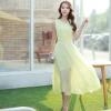 ชุดเดรสยาวสีเหลือง แขนกุด คอวี ผ้าชีฟอง เอวยืด มีซับใน เรียบหรู