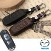 ซองหนังแท้ ใส่กุญแจรีโมทรถยนต์ รุ่นหนัง Hi-end Mazda 2-3/CX- 5 Smart Key 3 ปุ่ม