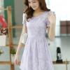 ชุดเดรสลูกไม้สีม่วง คอกลม แขนสั้น แนวเกาหลี สวยหวาน น่ารักๆ