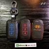ซองหนังแท้ ใส่กุญแจรีโมท รุ่นด้ายสี พิมพ์โลโก้ Hyundai Sonata,Tucson,Elantra Smart Key 3 ปุ่ม