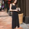 ชุดเดรสยาวสีดำ ผ้าชีฟอง แขนกุด คอกลม เอวยืด มีซับใน โชว์ ด้านหลัง สวยเก๋