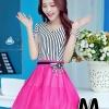 ชุดออกงานแฟชั่นเกาหลีสวยๆ มินิเดรสกระโปรงสั้น สีชมพูสดใส สามารถใส่ไปงานแต่งงาน ทำงานออฟฟิศ จะทำให้คุณกลายเป็นสาวหวาน น่ารัก , size M