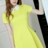 ชุดเดรสสั้นสีเหลือง คอปก แขนสั้น กระโปรงบาน แนวน่ารักๆ สวยสไตล์เกาหลี