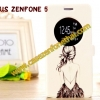 เคสzenfone 5 ฝาพับ FLIP COVER ลายการ์ตูน ผู้หญิงผมยาว
