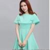 ชุดเดรสสั้นสีเขียว เซ็ทชุดเดรสสั้น คอกลม แขนกุด + เสื้อครอปคลุมไหล่ แนวเกาหลีสวยๆ