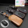 New ซองหนังแท้ ใส่กุญแจรีโมทรถยนต์ Toyota New Vios, Yaris Ativ 2014-17 แบบ Push Start โลโก้เงิน รุ่น 3 ปุ่ม
