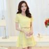 ชุดเดรสสั้นสีเหลือง ผ้าลูกไม้ แขนสั้น สวยหวาน เรียบร้อย เป็นชุดเดรสทำงาน ชุดลำลอง ชุดไปงานแต่ง