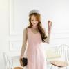 ชุดเดรสสั้นน่ารักๆแฟชั่นเกาหลี สีชมพู ทรงตรง เซ็ท 2 ชิ้น, เดรสทรงตรง ผ้าสักหลาด คอวี แขนกุด + เดรสลูกไม้ผ้าซีทรูแขนยาว
