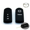 ปลอกซิลิโคน หุ้มกุญแจรีโมทรถยนต์ Mazda 2,3 พับข้าง รุ่น 3 ปุ่ม สีดำ