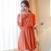 ชุดเดรสสั้นแฟชั่นเกาหลี สีส้ม ผ้าชีฟอง คอกลม เอวยืด แขนสามส่วนเก๋ๆ เป็นชุดเดรสสวยหวาน น่ารัก ดูเรียบร้อย ,ชุดไปงานศพสวยๆ ( M L)