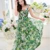 ชุดเดรสยาวสีเขียว ลายดอกไม้ สไตล์โบฮีเมียนสายเดี่ยว ผ้าชีฟอง ใส่ไปทะเล เก๋ๆ