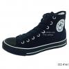 [พร้อมส่ง] รองเท้าผ้าใบแฟชั่น รุ่น 222 สีดำขอบขาว ทรงหุ้มข้อ
