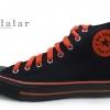 [พร้อมส่ง]รองเท้าผ้าใบแฟชั่น บูทหุ้มข้อ สีดำสาปส้ม รุ่น M-Five