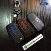 ซองหนังแท้ ใส่กุญแจรีโมท รุ่นด้ายสี พิมพ์โลโก้ Ford Fiesta,Focus พับข้าง รุ่น 3 ปุ่ม
