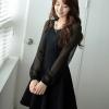 ชุดเดรสทำงานแฟชั่นสไตล์เกาหลี ชุดแซกกระโปรงสั้นสีดำ ผ้าเนื้อทราย เนื้อผ้ายืดได้นิดหน่อย แขนยาวผ้าชีฟอง
