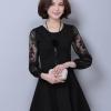 ชุดเดรสสั้นสีดำ แขนยาวลูกไม้ คอกลม กระโปรงบาน สวยน่ารัก สไตล์เกาหลี M-XXL