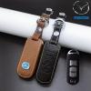 ซองหนังแท้ ใส่กุญแจรีโมทรถยนต์ รุ่น โลโก้ - ฟ้า Mazda 2,3 Smart Key 3 ปุ่ม