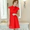 ชุดเดรสสั้นสีแดง คอจีน แขนสั้น สีพื้น เรียบๆ สวยดูดี ใส่ได้ทั้งเป็นชุดลำลองสวยๆ ชุดทำงานน่ารักๆ