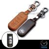 ซองหนังแท้ ใส่กุญแจรีโมทรถยนต์ รุ่นหนังนิ่มโลโก้-เงิน Mazda 2,3 Smart Key 3 ปุ่ม