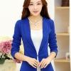 เสื้อสูททำงานผู้หญิง สีน้ำเงิน แขนยาว คอปก เอวเข้ารูป
