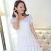 ชุดเดรสทำงานแนวหวาน น่ารักๆ สีขาว ผ้าชีฟอง คอปก แขนสั้น ซิปข้าง กระโปรงบาน ซับในทั้งตัว