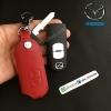 ซองหนังแท้ ใส่กุญแจรีโมทรถยนต์ รุ่นแบบสวมถอดได้ Mazda 2,3/CX-3,5 Smart Key 2 ปุ่ม