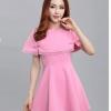 ชุดเดรสสั้นสีชมพู เซ็ทชุดเดรสสั้น คอกลม แขนกุด + เสื้อครอปคลุมไหล่ แนวเกาหลีสวยๆ