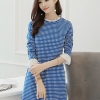 ชุดเดรสทำงานสีน้ำเงินลายจุด ลุคสวย น่ารัก สดใส สไตล์เกาหลี