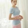 ชุดเดรสสั้นสีฟ้้า ชมพู คอกลม แขนสั้น เข้ารูป สวยหวาน น่ารักๆ แนวเกาหลี