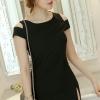 ชุดเดรสสั้นสีดำ เข้ารูป เว้าไหล่ แฟชั่นสไตล์เกาหลี สวย สดใส