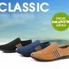 แฟชั่นรองเท้าชาย รองเท้าหนังผ้าใบ ไสต์เกาหลี เรียบหรู ไซส์ 42 - 43 (Pre)