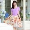 ชุดเดรสยาวสีม่วง ผ้าชีฟอง แขนสั้น คอกลม เอวยืด กระโปรง พิมพ์ลายดอกไม้ แนวหวาน