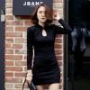 ชุดเดรสทำงานสีดำ แขนยาว คอเต่า ทรงเข้ารูป สวยหรู