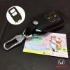 ซองหนังแท้ ใส่กุญแจรีโมทรถยนต์ HONDA HR-V,CR-V,BR-V,JAZZ Smart Key 2 ปุ่ม รุ่นหนังนิ่ม สีดำ/ด้ายแดง
