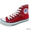 [พร้อมส่ง] รองเท้าผ้าใบแฟชั่น รุ่น 222 สีแดง ทรงหุ้มข้อ
