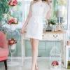 ชุดเดรสออกงาน/ชุดไปงานแต่งงาน สีขาว ผ้าลูกไม้เกรดพรีเมี่ยม ไหล่เฉียง แขนกว้าง แนวสวยๆ น่ารักๆ